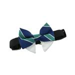View Image 3 of Dog Bow Tie Collar Attachment by Doggie Design - Navy Blue and Green Stripe