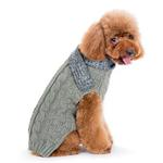 View Image 2 of Urban Cable Scarf Dog Sweater by Dogo - Gray