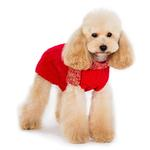 View Image 3 of Urban Cable Scarf Dog Sweater by Dogo - Red