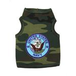 View Image 1 of U.S. Navy Crest Dog Tank Top - Camo with Blue Patch