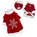 View Image 2 of Velour Christmas Dog Shirt With Sparkling Silver Snowflake By Klippo