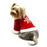 View Image 1 of Velour Christmas Dog Shirt With Sparkling Silver Snowflake By Klippo