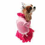 View Image 1 of Velvet Princess Dog Costume Dress - Magenta with Tiara