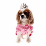 View Image 2 of Velvet Princess Dog Costume Dress - Magenta with Tiara