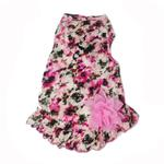 View Image 1 of Vintage Floral Dog Dress with Satin Bow - Dusty Rose