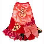 View Image 1 of Vintage Floral Dog Dress with Satin Bow - Red Pink Rose