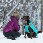 View Image 3 of Vortex Parka Dog Coat - Teal and Orange
