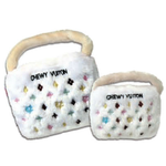View Image 1 of White Chewy Vuiton Purse Plush Dog Toy