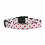View Image 1 of White and Red Dotty Hearts Nylon Dog Collar - White