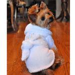 View Image 2 of White Silver Tiara Cotton Dog Bathrobe by Doggie Design