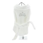 View Image 1 of White Silver Tiara Cotton Dog Bathrobe by Doggie Design