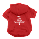 View Image 1 of Will You Be My Valentine Dog Hoodie - Red