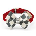 View Image 1 of Windsor Check Nouveau Bow Luxury Dog Collar by Susan Lanci - Red