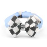 View Image 1 of Windsor Check Nouveau Bow Luxury Dog Collar by Susan Lanci - Puppy Blue