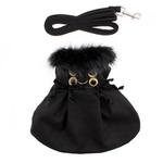 View Image 2 of Wool Fur-Trimmed Dog Harness Coat by Doggie Design - Black