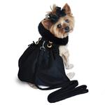View Image 1 of Wool Fur-Trimmed Dog Harness Coat by Doggie Design - Black