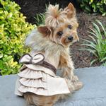View Image 1 of Wool Fur-Trimmed Dog Harness Coat by Doggie Design - Camel