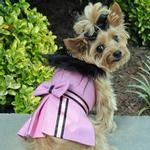 View Image 1 of Wool Fur-Trimmed Dog Harness Coat by Doggie Design - Pink