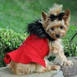 View Image 1 of Wool Fur-Trimmed Dog Harness Coat by Doggie Design - Red