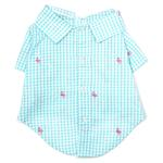 View Image 1 of Worthy Dog Gingham Flamingos Dog Shirt