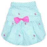 View Image 1 of Worthy Dog Gingham Flamingos Dog Dress