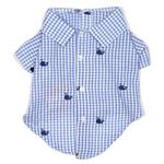 View Image 1 of Worthy Dog Gingham Whales Dog Shirt