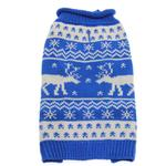 View Image 1 of Worthy Dog Holiday Ski Dog Sweater - Reindeer Blue