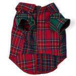 View Image 2 of Worthy Dog Colorblock Tartan Flannel Dog Shirt