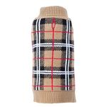 View Image 1 of Worthy Dog Plaid Dog Sweater - Tan