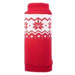 View Image 1 of Worthy Dog Fairisle Snowflake Dog Sweater - Red