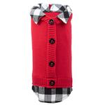 View Image 1 of Worthy Dog Two-Fer Cardigan Dog Sweater - Red Buffalo