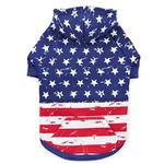 View Image 1 of Zack and Zoey Distressed-Look American Flag Dog Hoodie