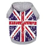 View Image 1 of Zack and Zoey Distressed-Look British Flag Dog Hoodie