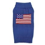 View Image 1 of Zack and Zoey Elements American Flag Dog Sweater - Blue