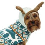View Image 2 of Zack and Zoey Elements Antler Dog Sweater - Teal