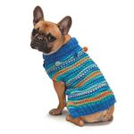 View Image 3 of Zack and Zoey Elements Chunky Pom-Pom Dog Sweater - Blue