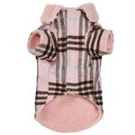 View Image 2 of Zack and Zoey Elements Cuddle Plaid Dog Coat - Pink