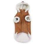 View Image 3 of Zack and Zoey Elements Shearling Dog Coat - Chestnut