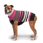 View Image 3 of Zack and Zoey Elements Speckle Striped Dog Sweater - Pink and Black