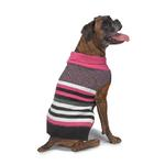 View Image 4 of Zack and Zoey Elements Speckle Striped Dog Sweater - Pink and Black