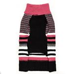 View Image 2 of Zack and Zoey Elements Speckle Striped Dog Sweater - Pink and Black