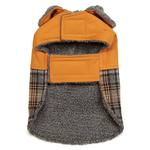 View Image 2 of Zack and Zoey ThermaPet Plaid Duck Dog Coat - Brown
