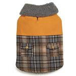 View Image 1 of Zack and Zoey ThermaPet Plaid Duck Dog Coat - Brown