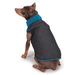 View Image 3 of Zack and Zoey ThermaPet Quilted Dog Vest - Black with Blue