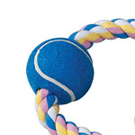 View Image 3 of Zanies Pastel Rope Toy with Two Tennis Balls