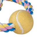 View Image 2 of Zanies Pastel Rope Toy with Two Tennis Balls