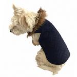 View Image 1 of The Ziggy Quilted Denim Dog Coat by The Dog Squad