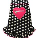View Image 1 of Zippered Pink Heart Pullover Dress - Black and White Dots