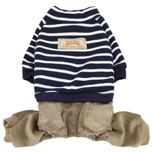 Striped Top with Corduroy Pants Dog Jumpsuit - Navy