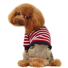 Striped Top with Corduroy Pants Dog Jumpsuit - Red